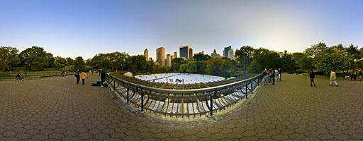 Pista de hielo en Central Park. Nueva York, EE.UU